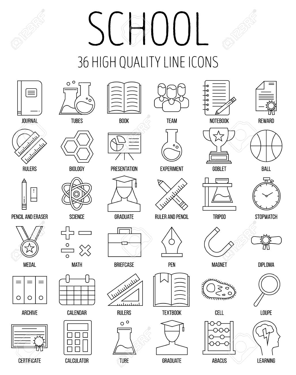 Education and back to school line icons set  Modern outline collection