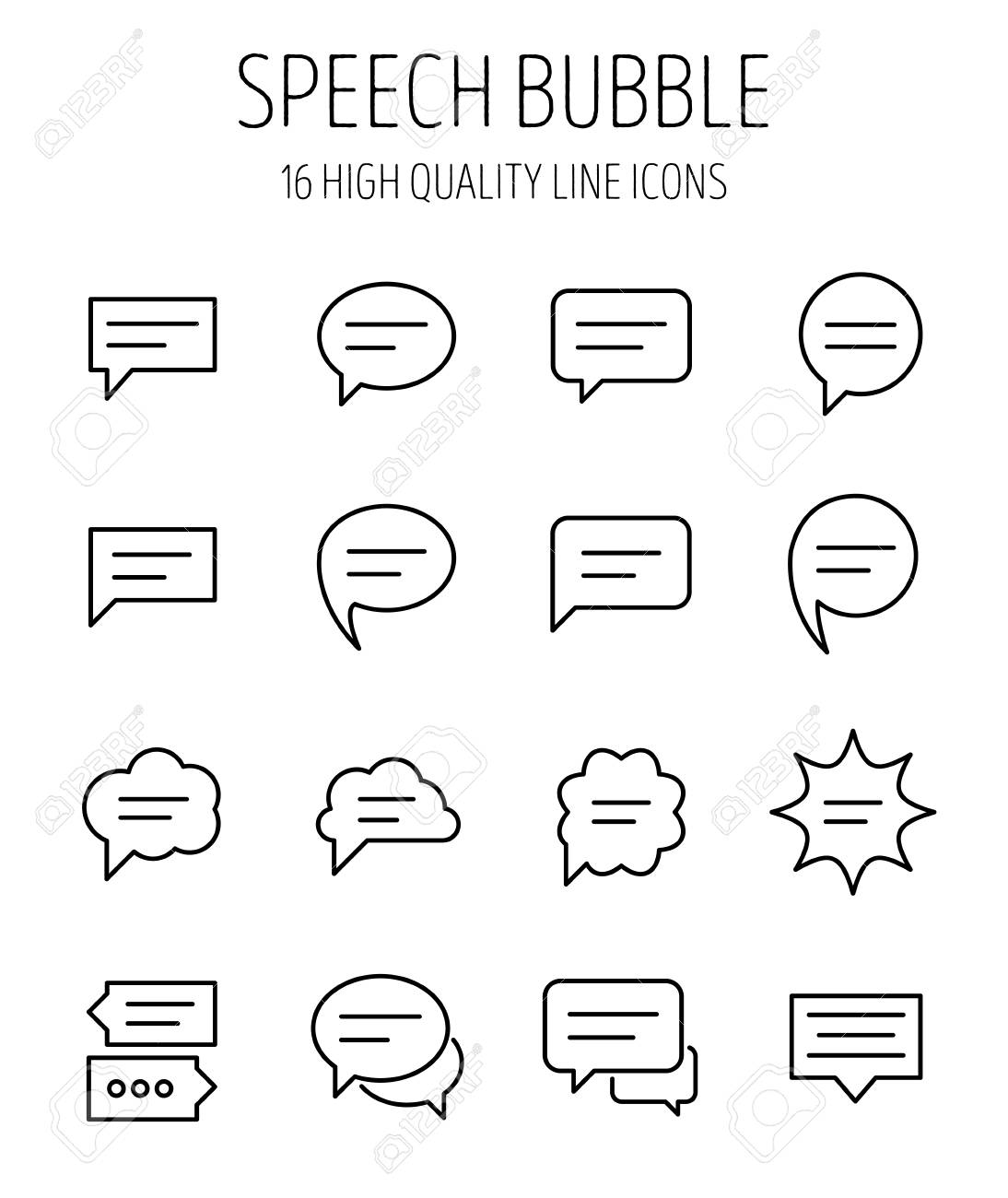 set of speech bubble in modern thin line style high quality
