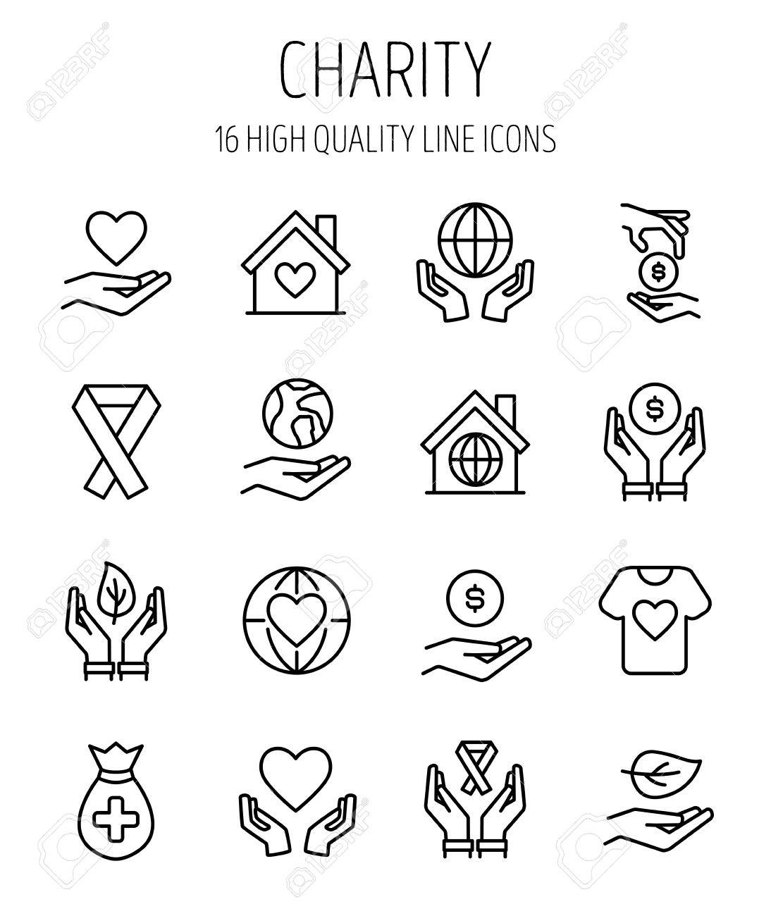 Set of charity icons in modern thin line style high quality set of charity icons in modern thin line style high quality black outline donation symbols biocorpaavc