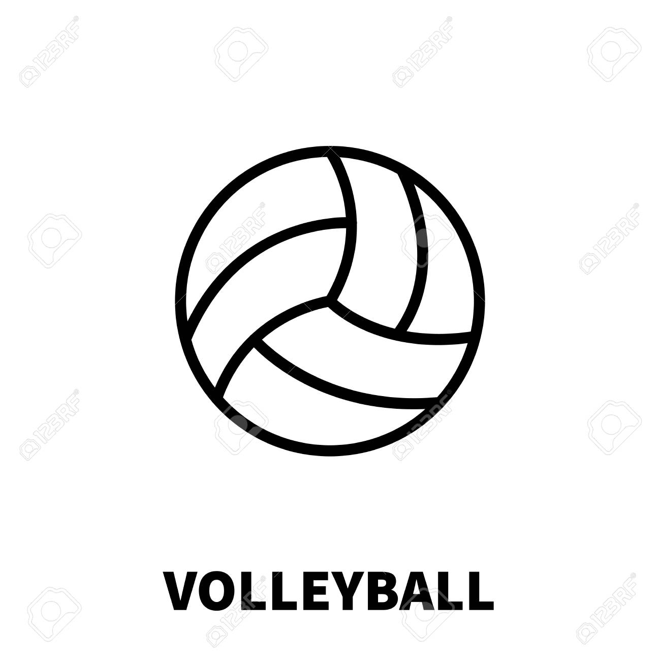 Volleyball Icon Or Logo In Modern Line Style High Quality Black