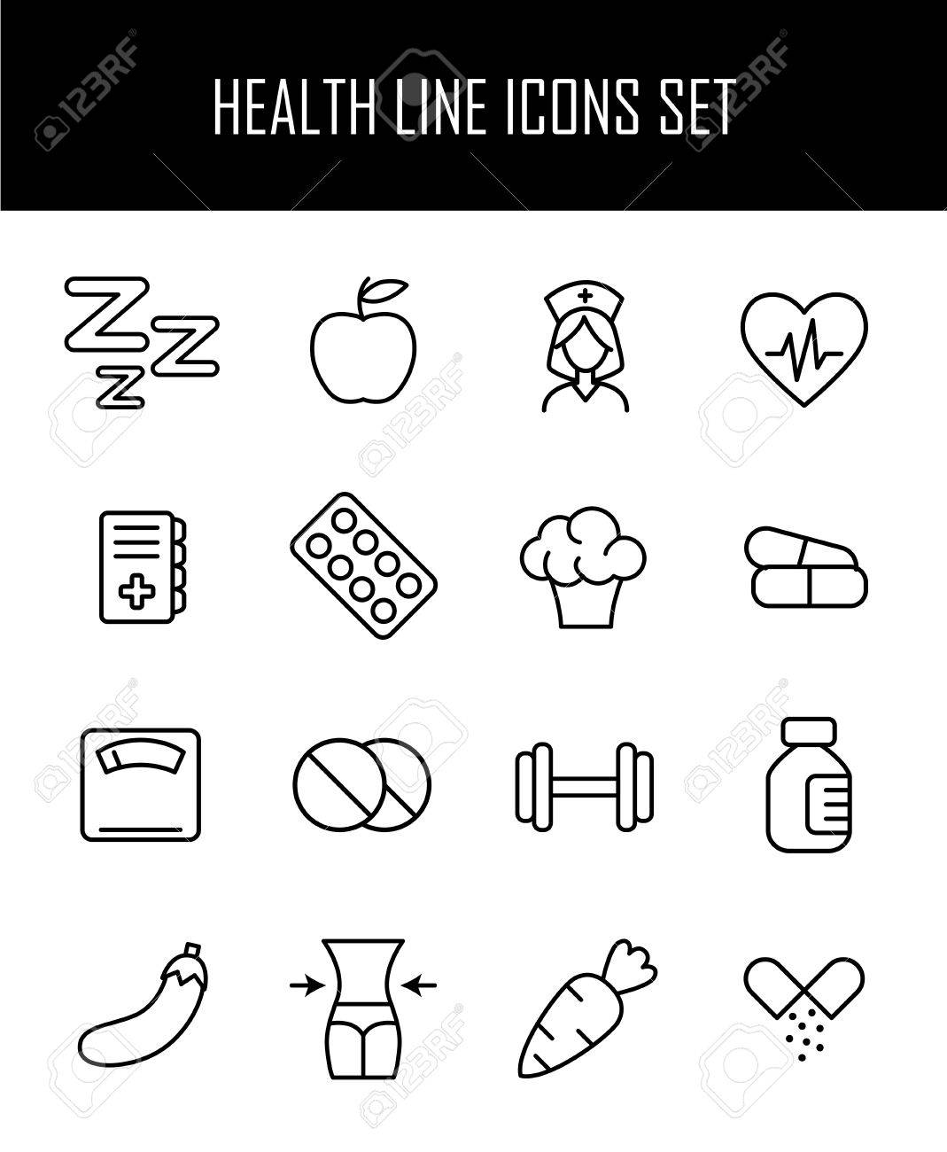 Set Of Health Icons In Modern Thin Line Style High Quality Black
