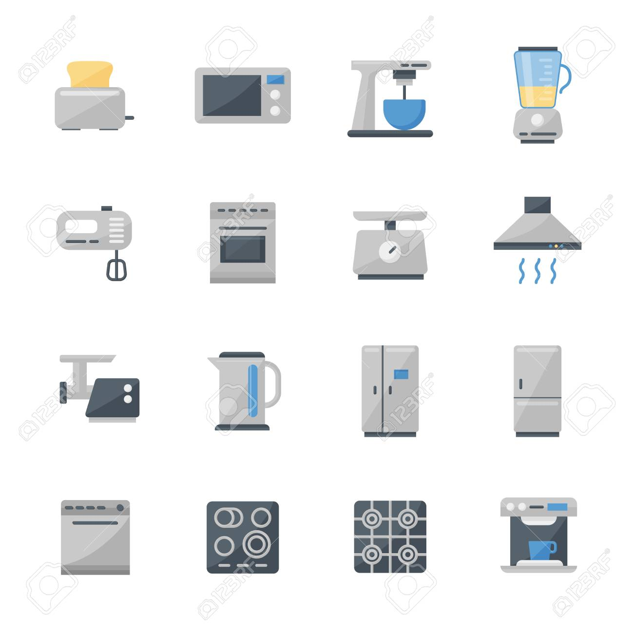 Set Di 16 Icone Piane Di Elettrodomestici Da Cucina. Pittogrammi Di ...