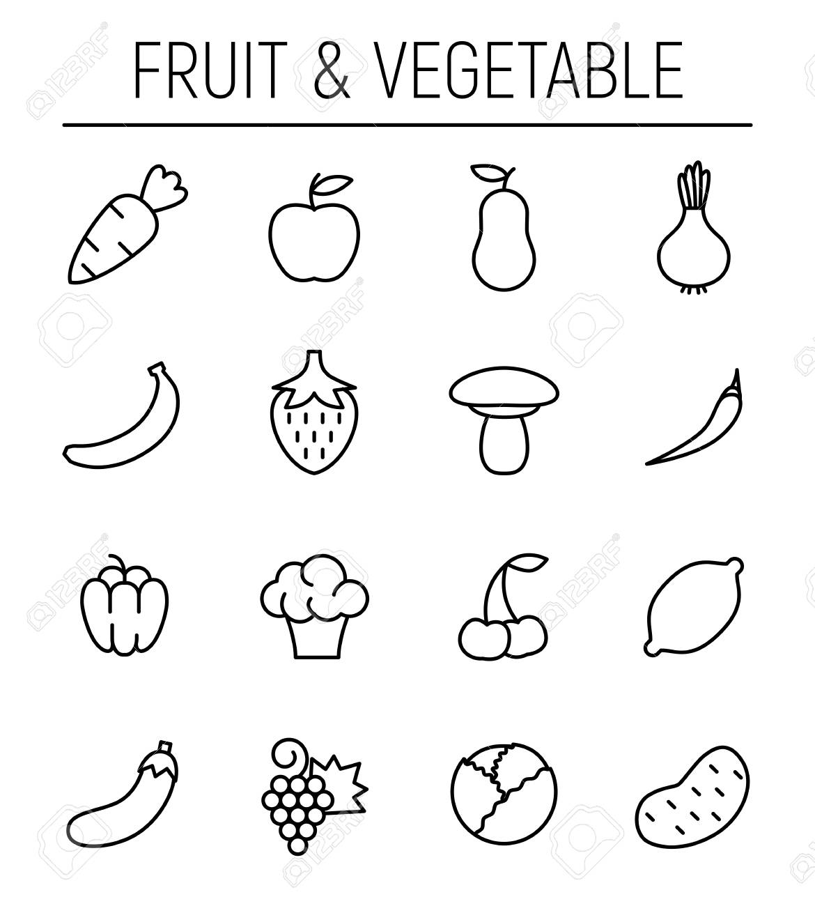 Set Of Fruits Icons In Modern Thin Line Style High Quality Black