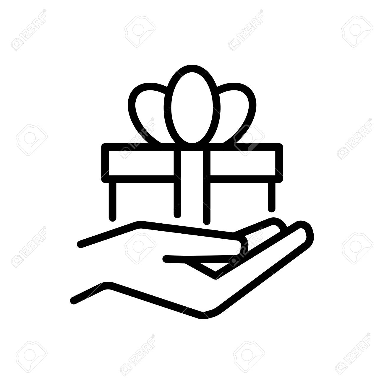 Gift giving icon in outline style royalty free cliparts vectors gift giving icon in outline style stock vector 84778587 negle Choice Image