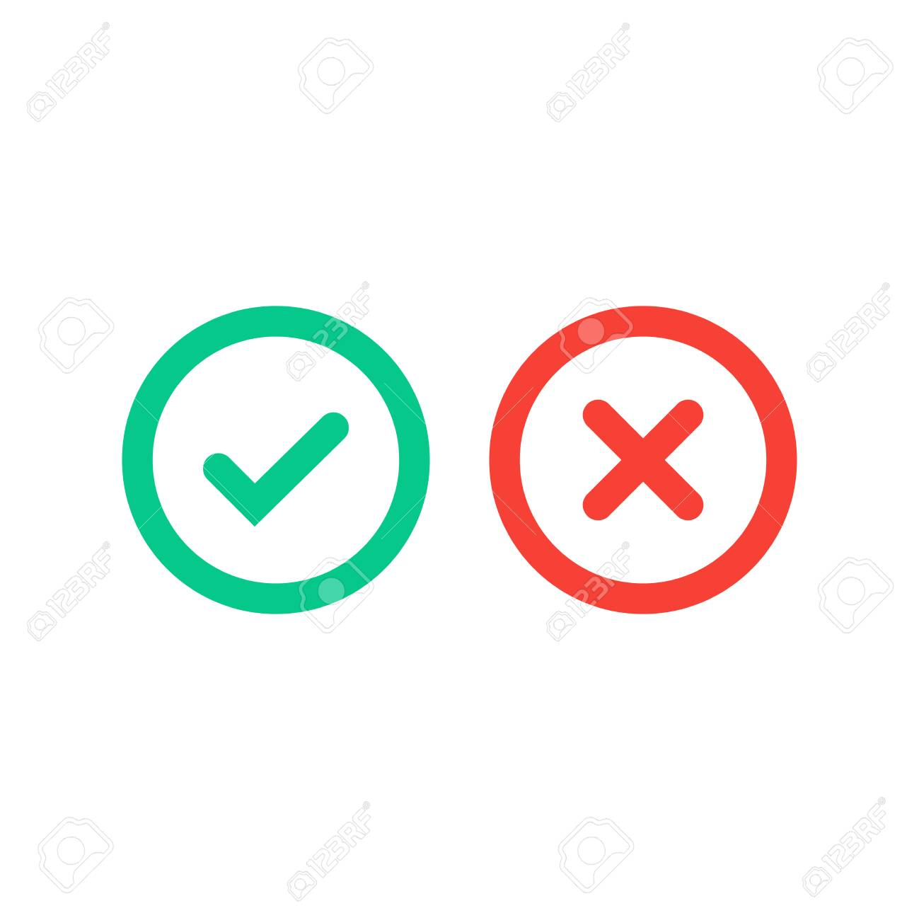 Green Tick And Red Cross Checkmarks In Circle Flat Icons Vector