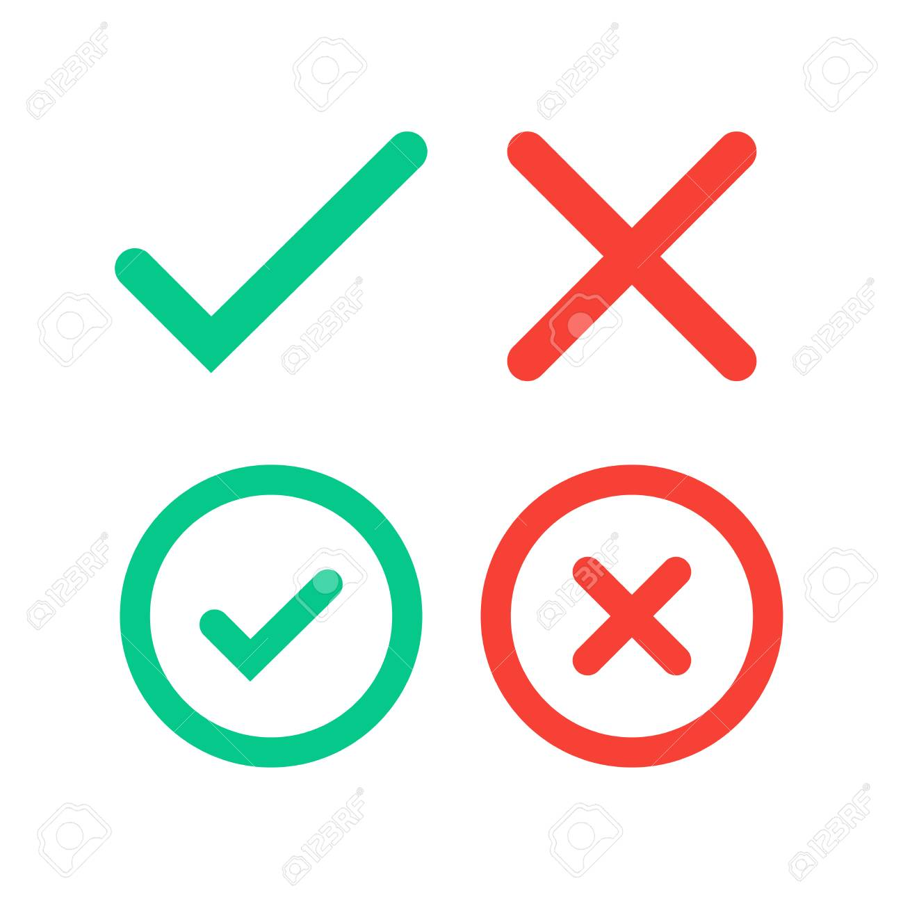 Green Tick And Red Cross Checkmarks In Circle Flat Icons Royalty