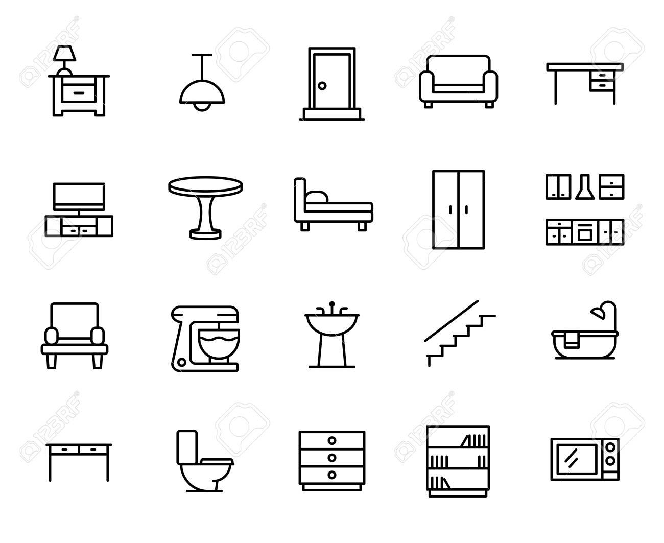 Premium Satz Von Möbel Linie Symbole. Einfache Piktogramme Packen. Strich  Vektor Illustration