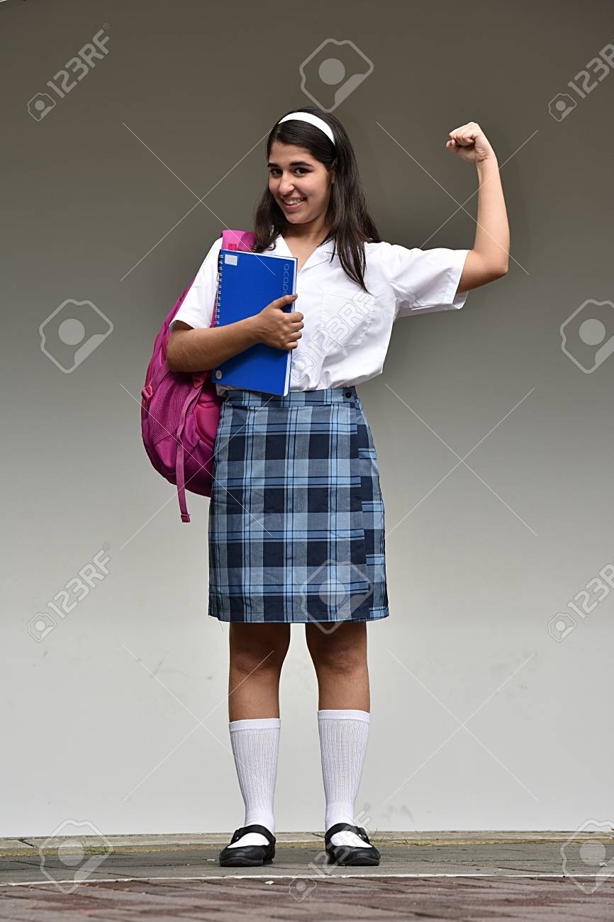 Stock Photo Teen School Girl Flexing Her Bicep Muscle