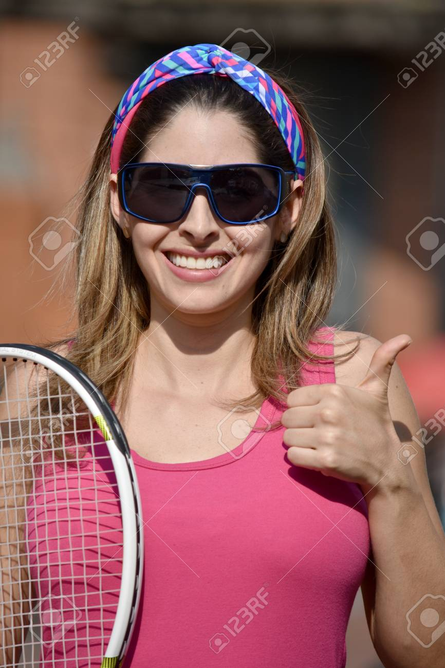 20a075be262 Colombian Girl Tennis Player And Happiness Wearing Sunglasses With Tennis  Racket Stock Photo - 96014058