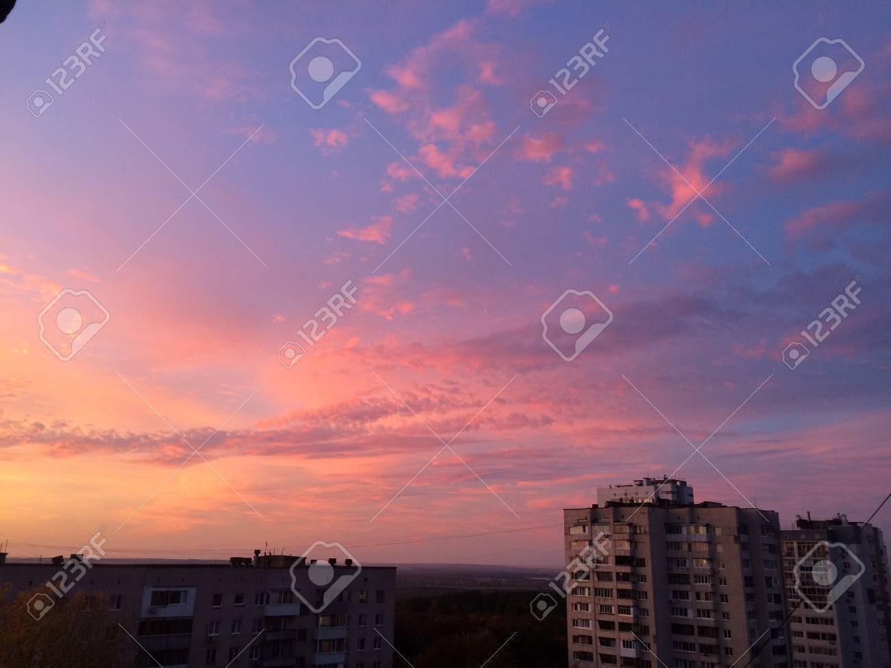 Purple Sunset Above City With No Color Scheme And No Corrections Stock Photo Picture And Royalty Free Image Image 70634362
