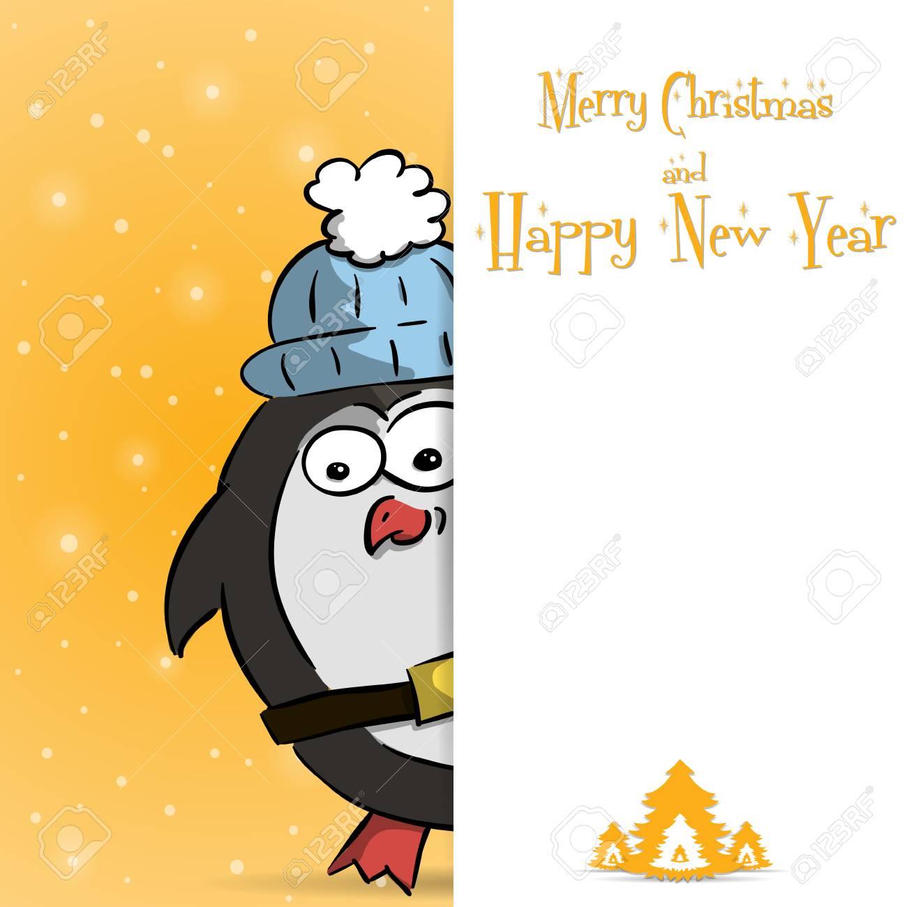 かわいいおさるペンギン ベクトル図と幸せな新年オレンジ グリーティング