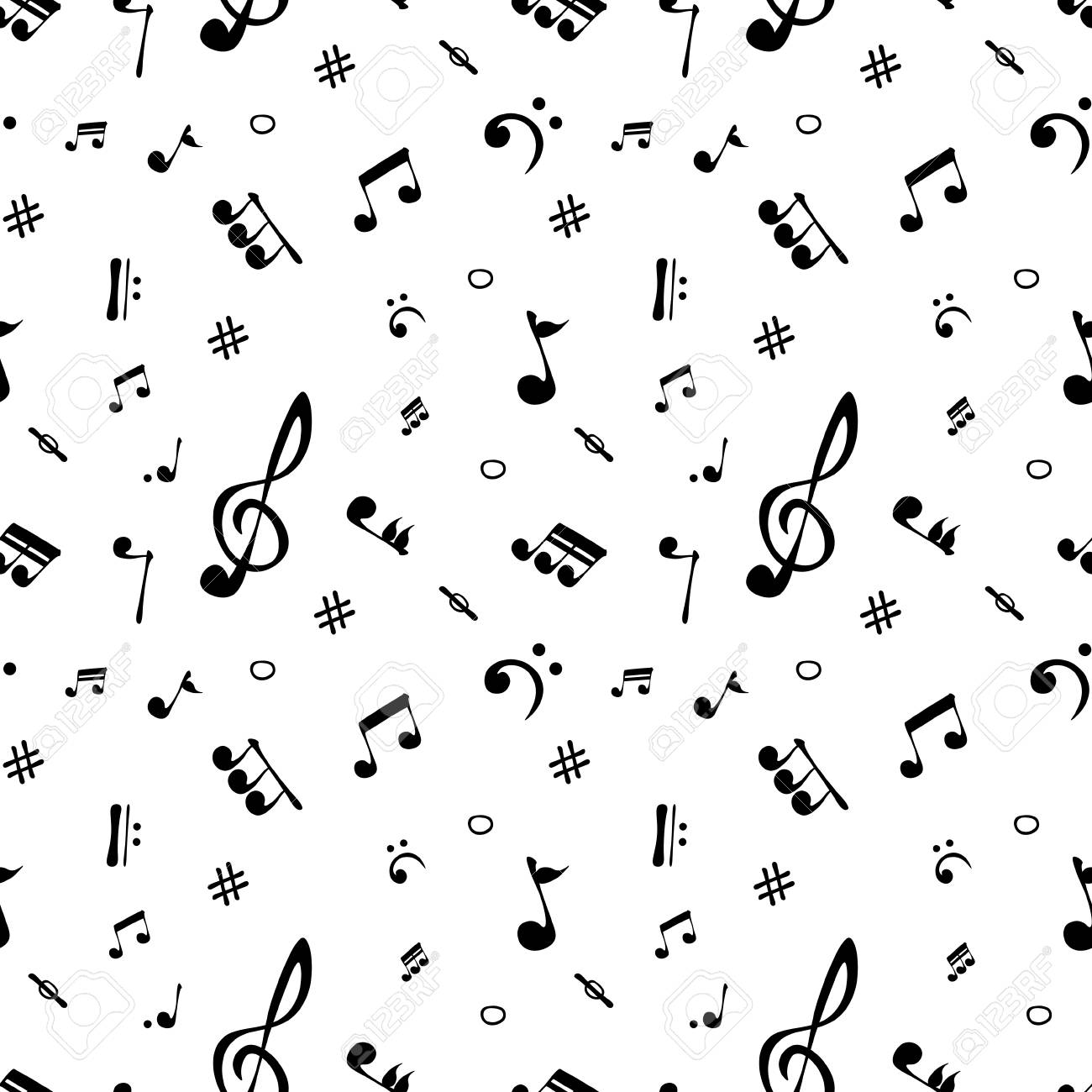 Seamless Pattern Wallpaper Of Realistic Musical Notes Vector