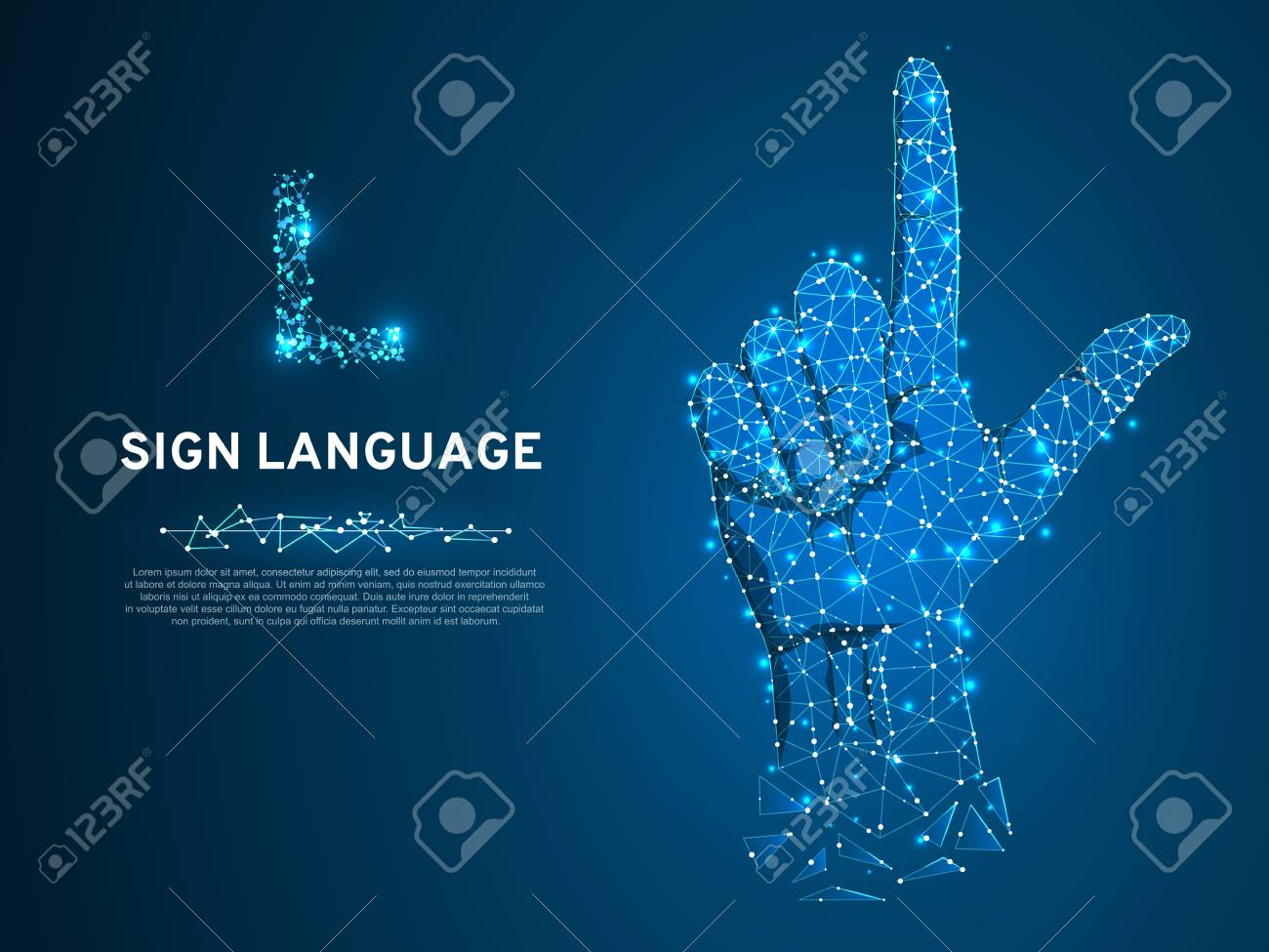 Sign language L letter, hand that use the visual-manual modality to convey meaning. Polygonal space low poly style. People silent communication. Connection wireframe. Vector on dark blue background - 114656624