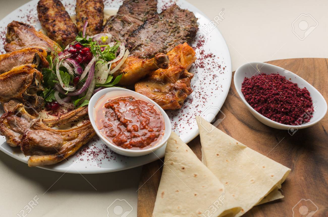 Turkish And Arabic Traditional Kebab Plate Fresh Cooked Meat Stock Photo Picture And Royalty Free Image Image 126344809