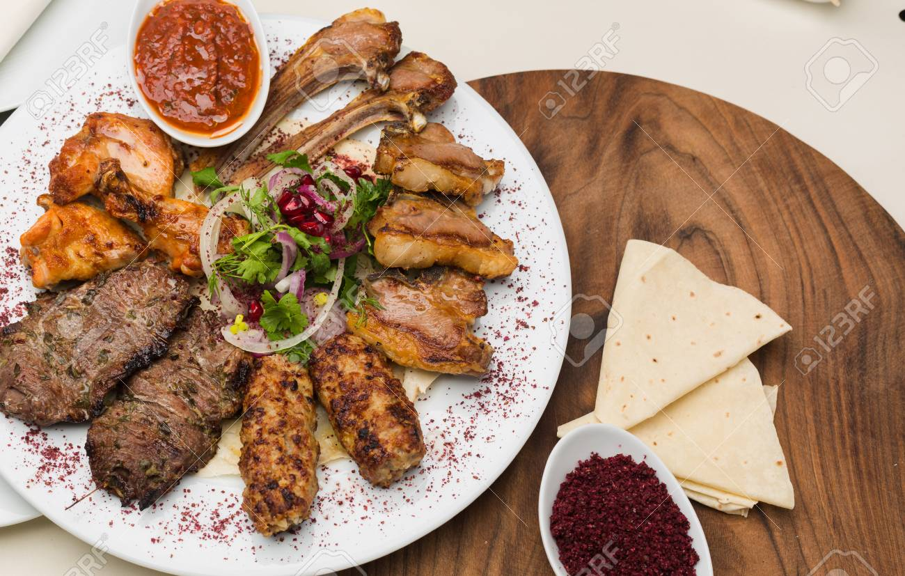 Turkish And Arabic Traditional Kebab Plate Fresh Cooked Meat Stock Photo Picture And Royalty Free Image Image 126344834