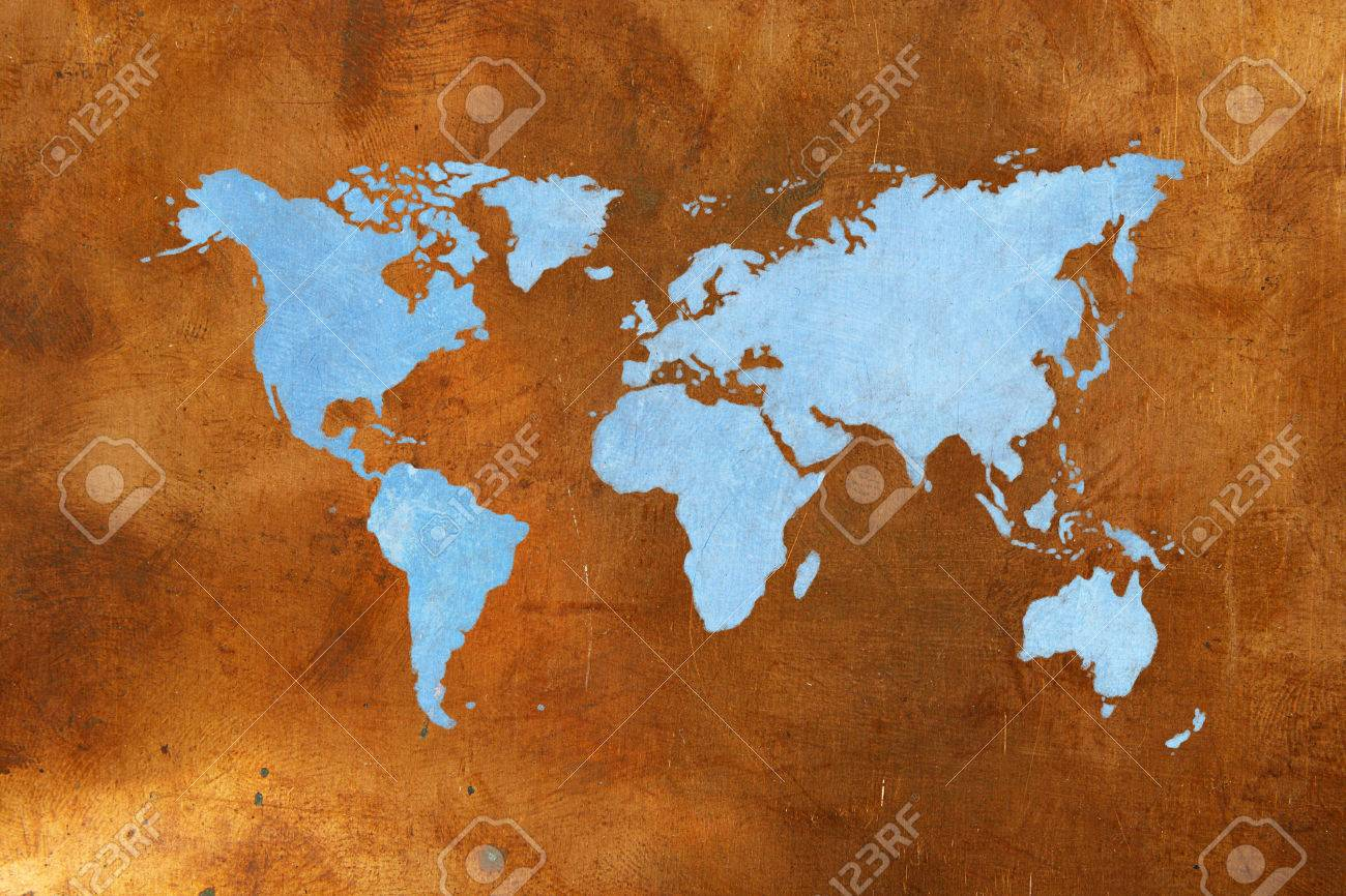 World map on bronze background copper and blue color stock photo stock photo world map on bronze background copper and blue color gumiabroncs Choice Image