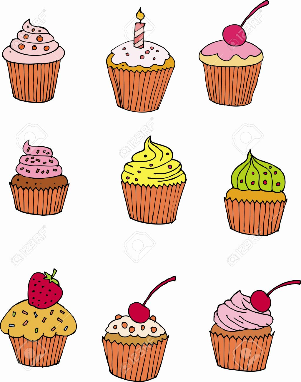 Cup cake hand drawing Stock Vector - 15349932