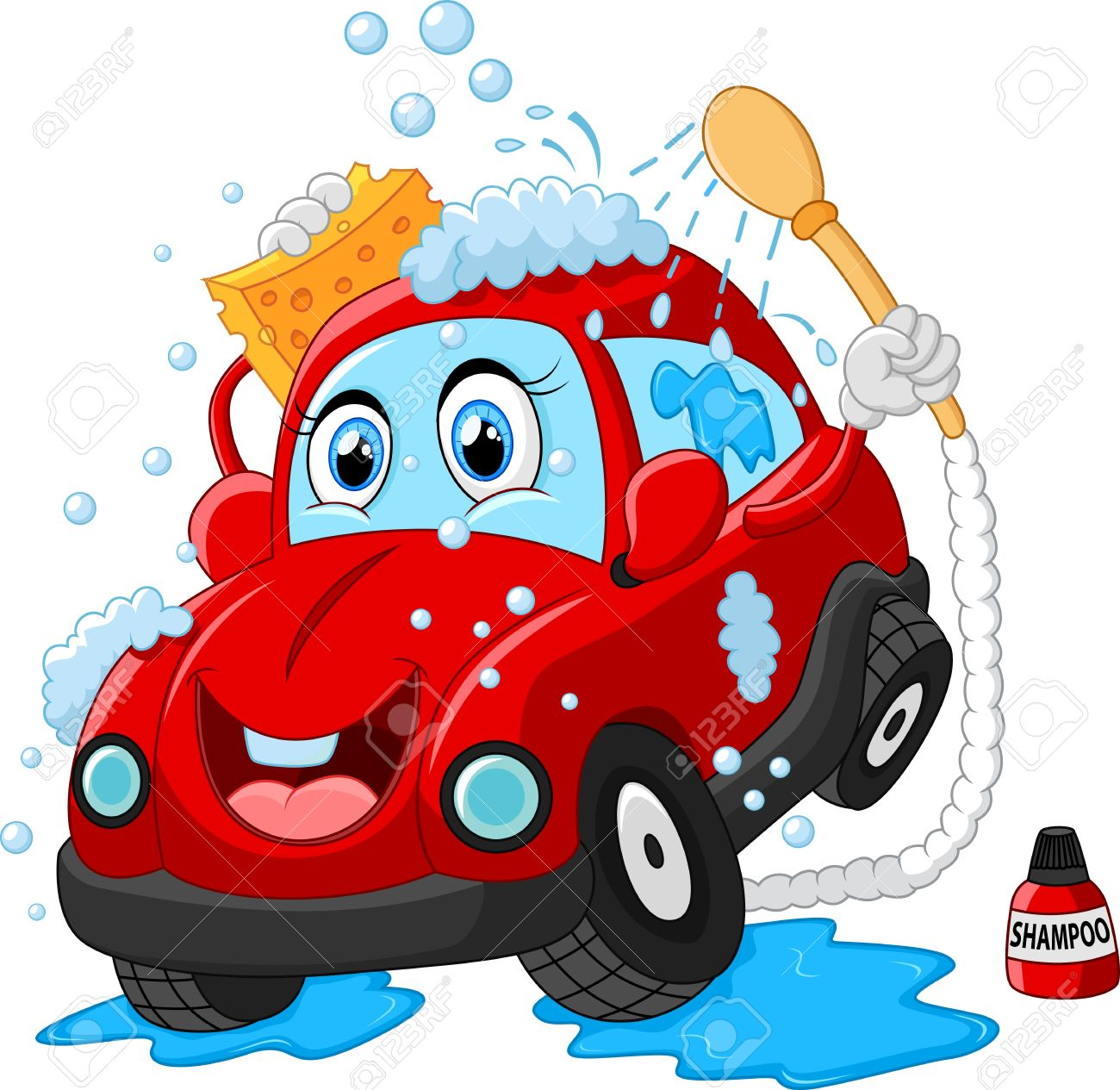 Cartoon Car Wash Character Stock Photo, Picture And Royalty Free ...