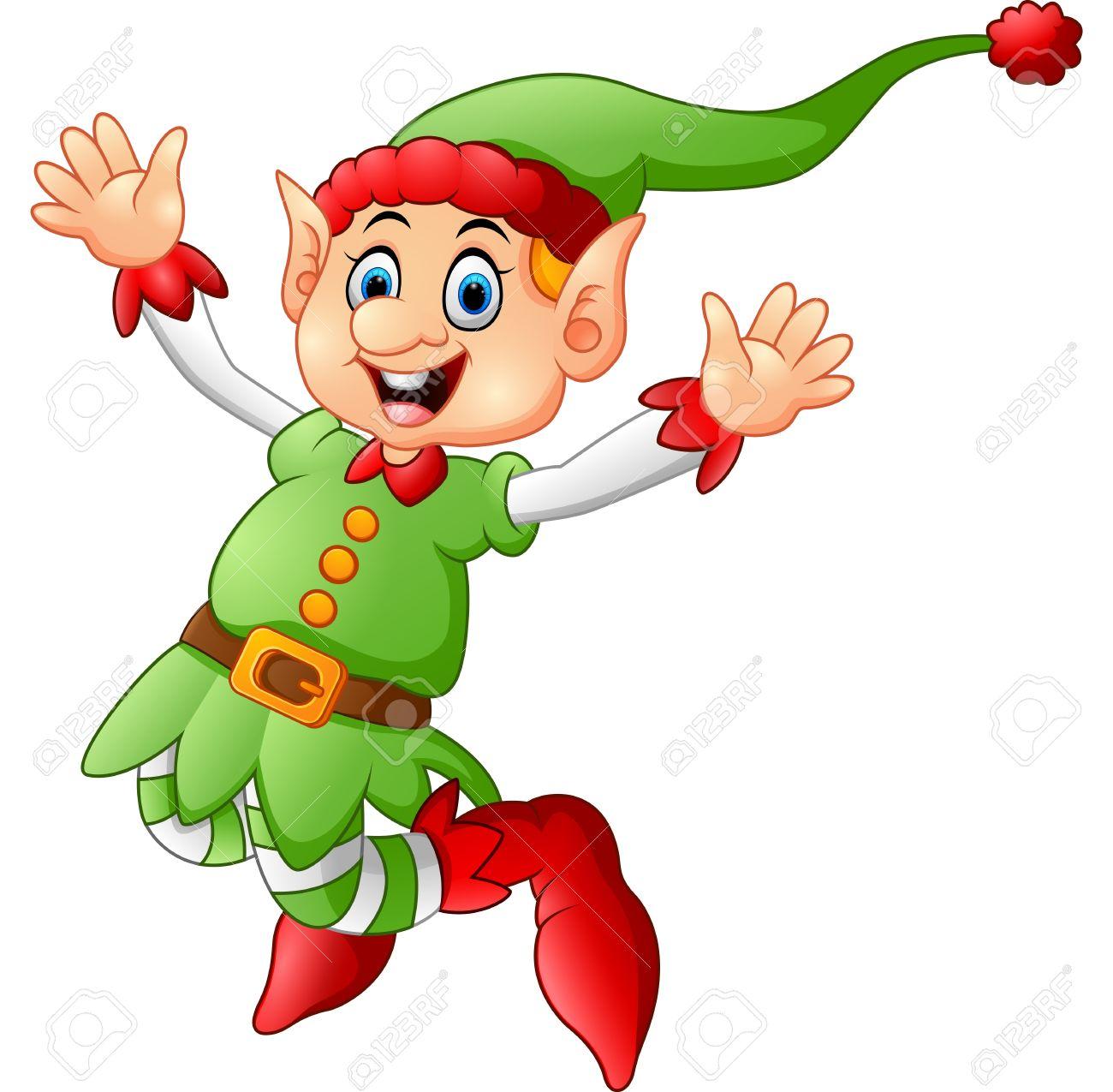 cartoon christmas elf waving royalty free cliparts vectors and