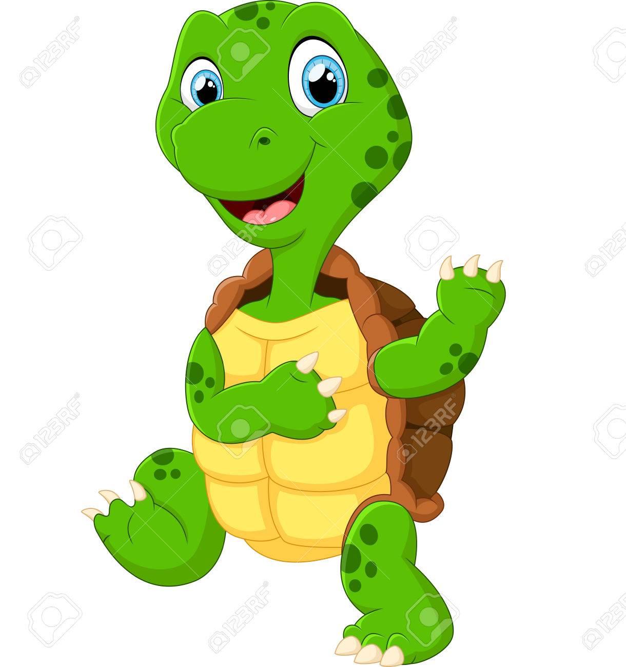 Cute Green Waving Turtle Royalty Free Klipartlar Vektör çizimler Ve