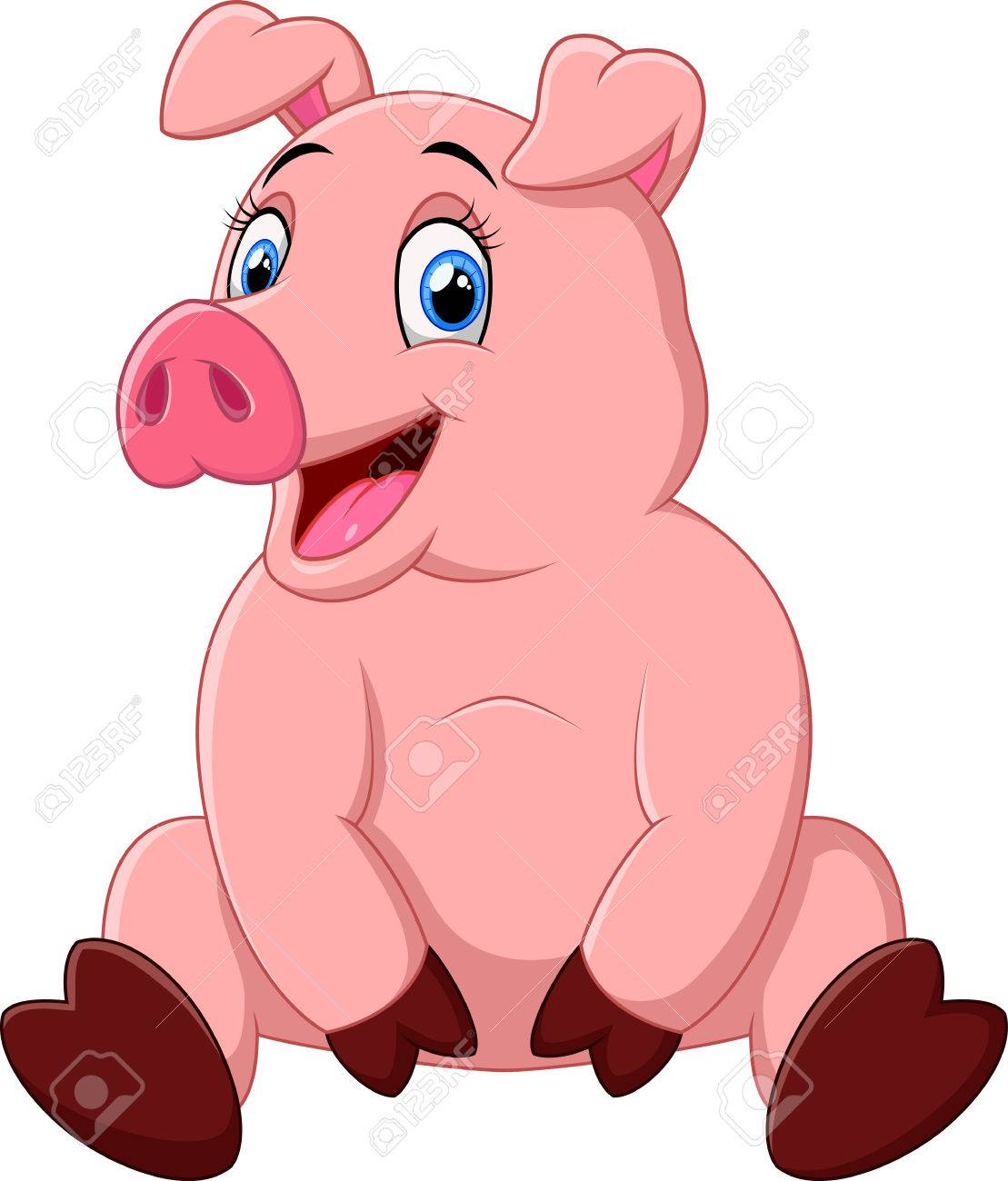 Cartoon Happy Pig Sitting Royalty Free Cliparts Vectors And Stock Illustration Image 49342993