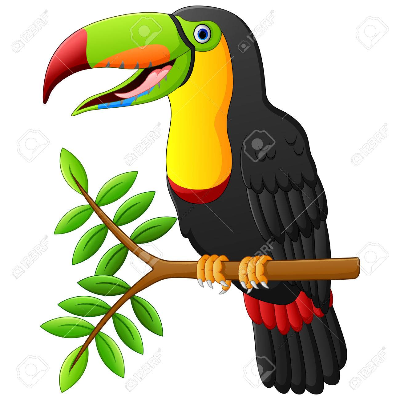 toucan cartoon sitting on the branch - 56383052