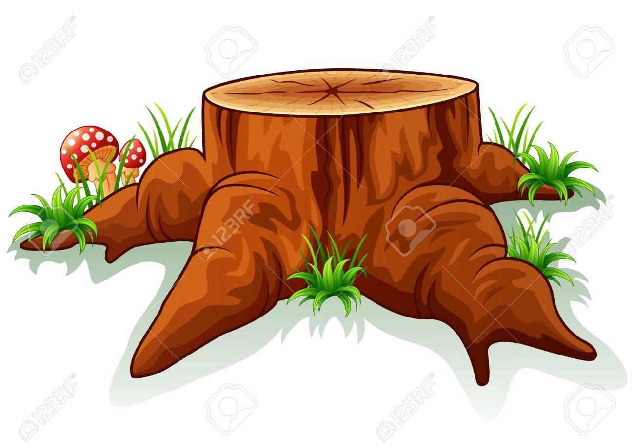 Illustration of tree stump and mushroom - 57017695