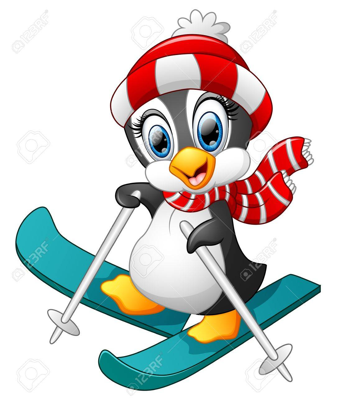 penguin cartoon skiing royalty free cliparts, vectors, and stock
