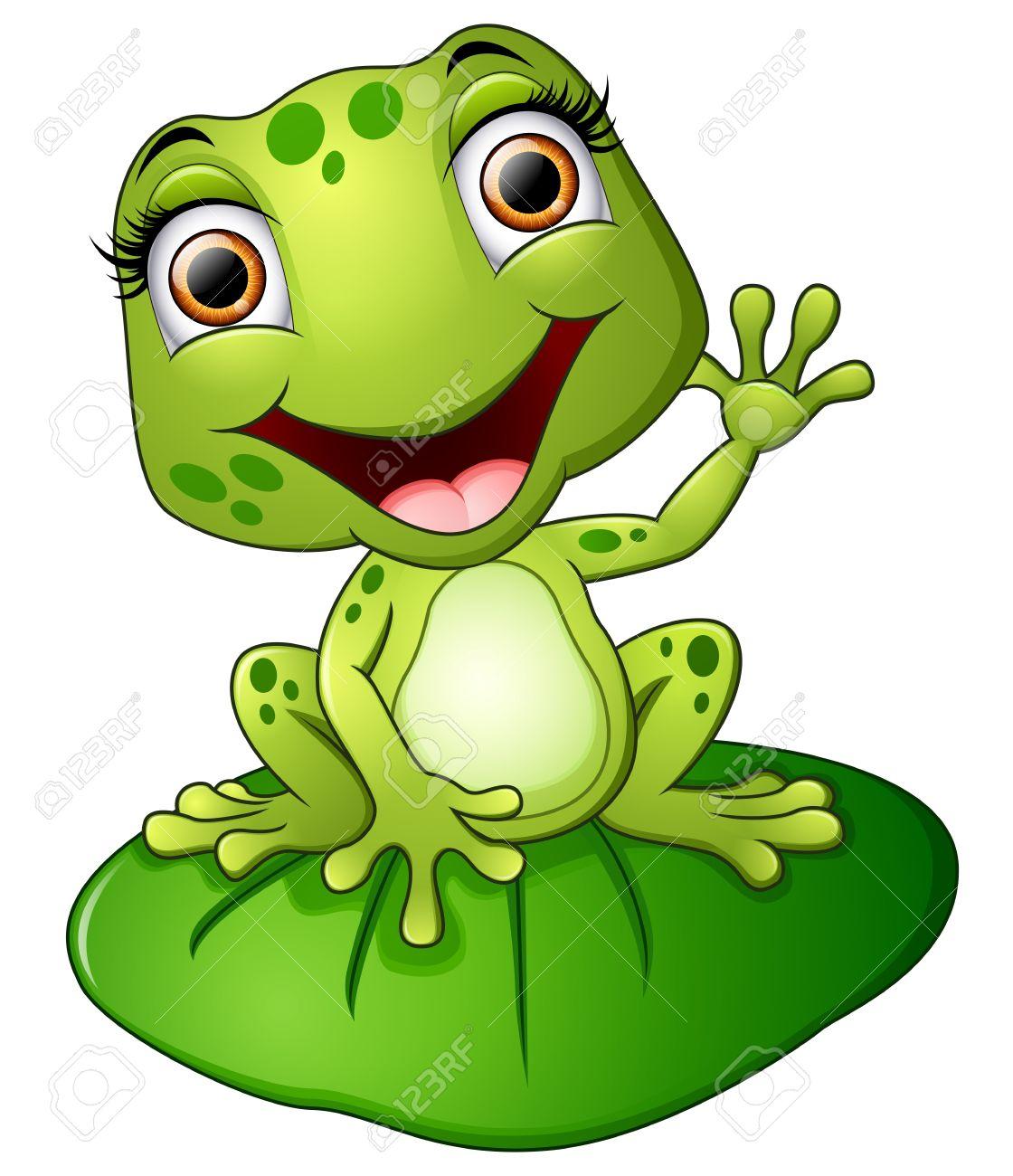 Cartoon frog sitting on the leaf - 58810177