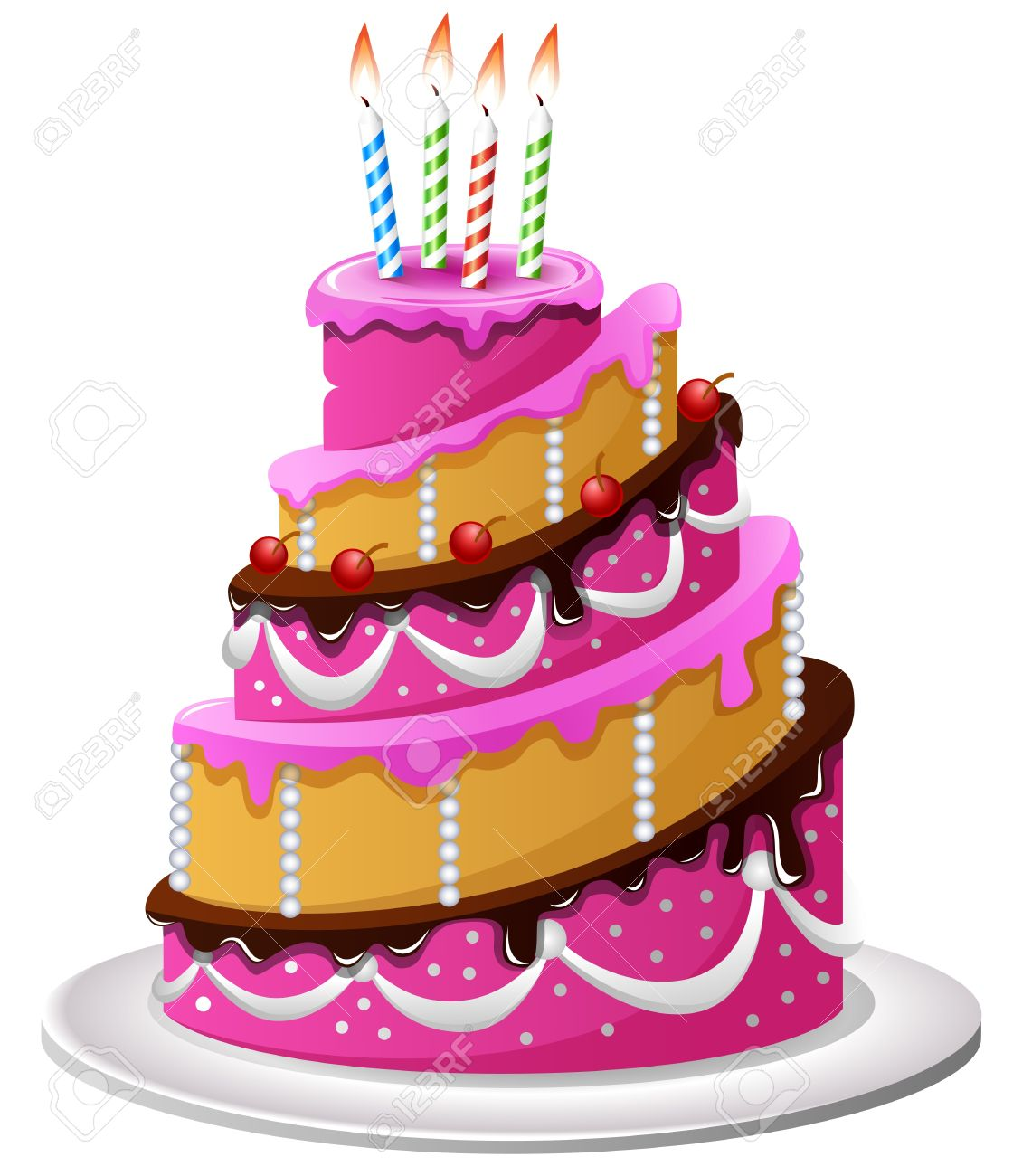 Birthday Cake Cartoon Stock Vector