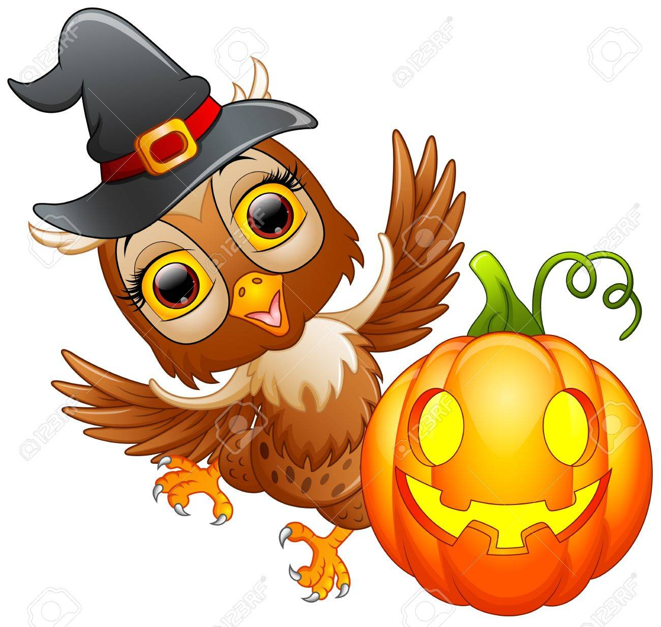 Owl cartoon with Halloween hat and pumpkin