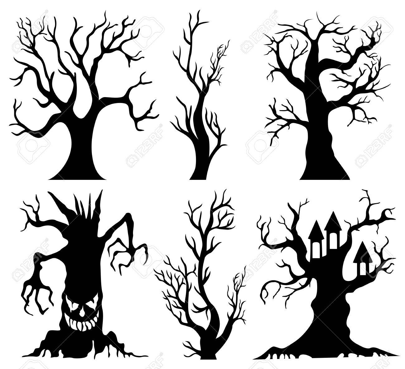 set of spooky halloween tree cartoon stock photo picture and