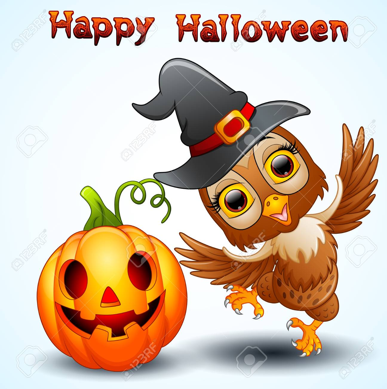 Owl Cartoon With Halloween Hat And Pumpkin Royalty Free Cliparts ... c8d503870705