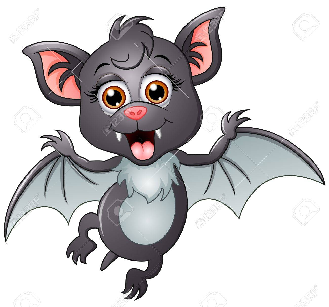 A Picture Of A Cartoon Bat happy bat cartoon isolated on white background