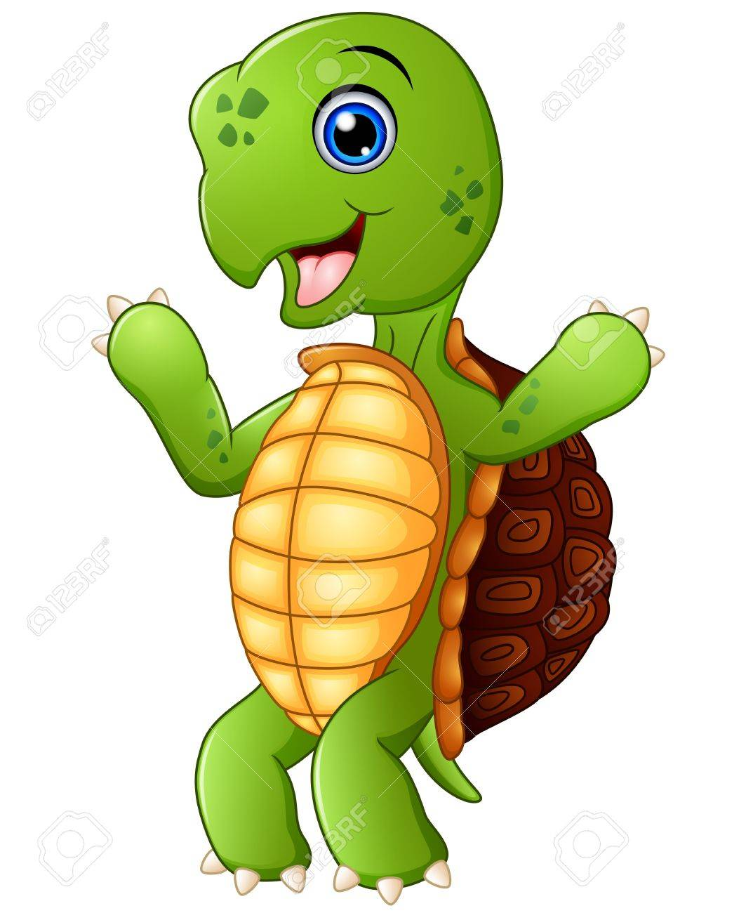 Cute Cartoon Turtle Standing Royalty Free Cliparts Vectors And