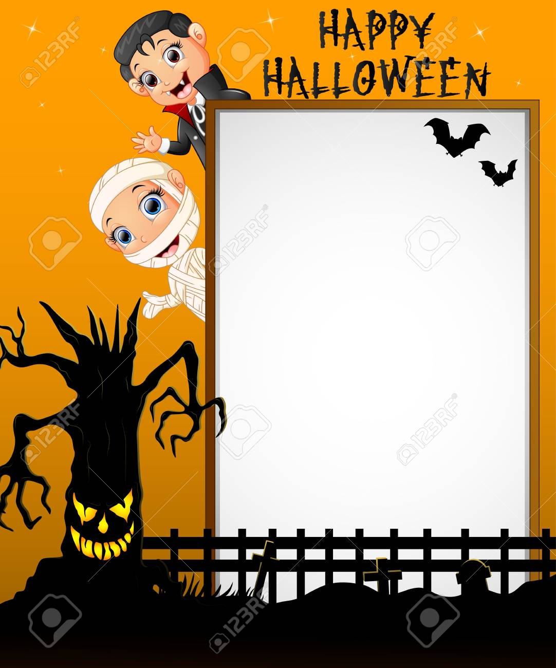 halloween sign with little mummy and little boy dracula while rh 123rf com Halloween Cat Vector Halloween Moon Vector