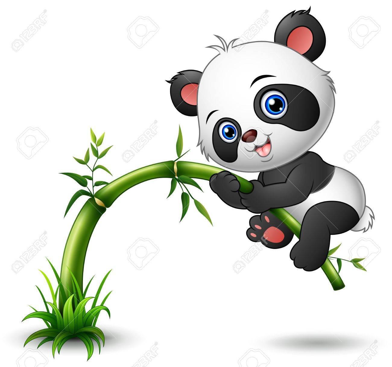 かわいい赤ちゃんパンダ木登り竹のイラスト素材ベクタ Image 65487011