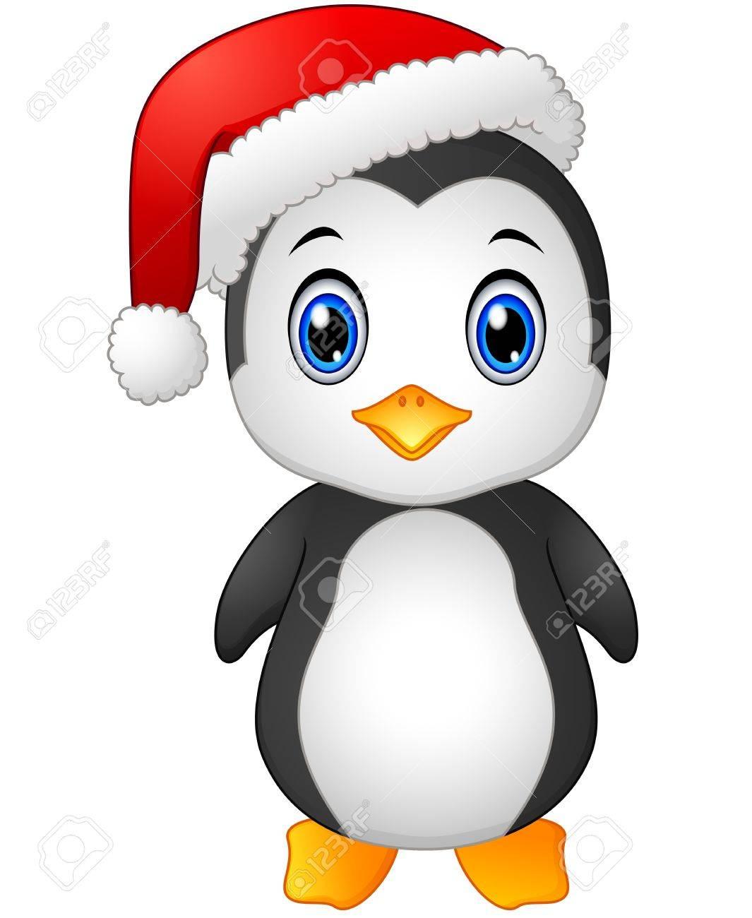 Pingouin Noel Vector Illustration De Pingouin De Noël Avec Le Père Noël Chapeau
