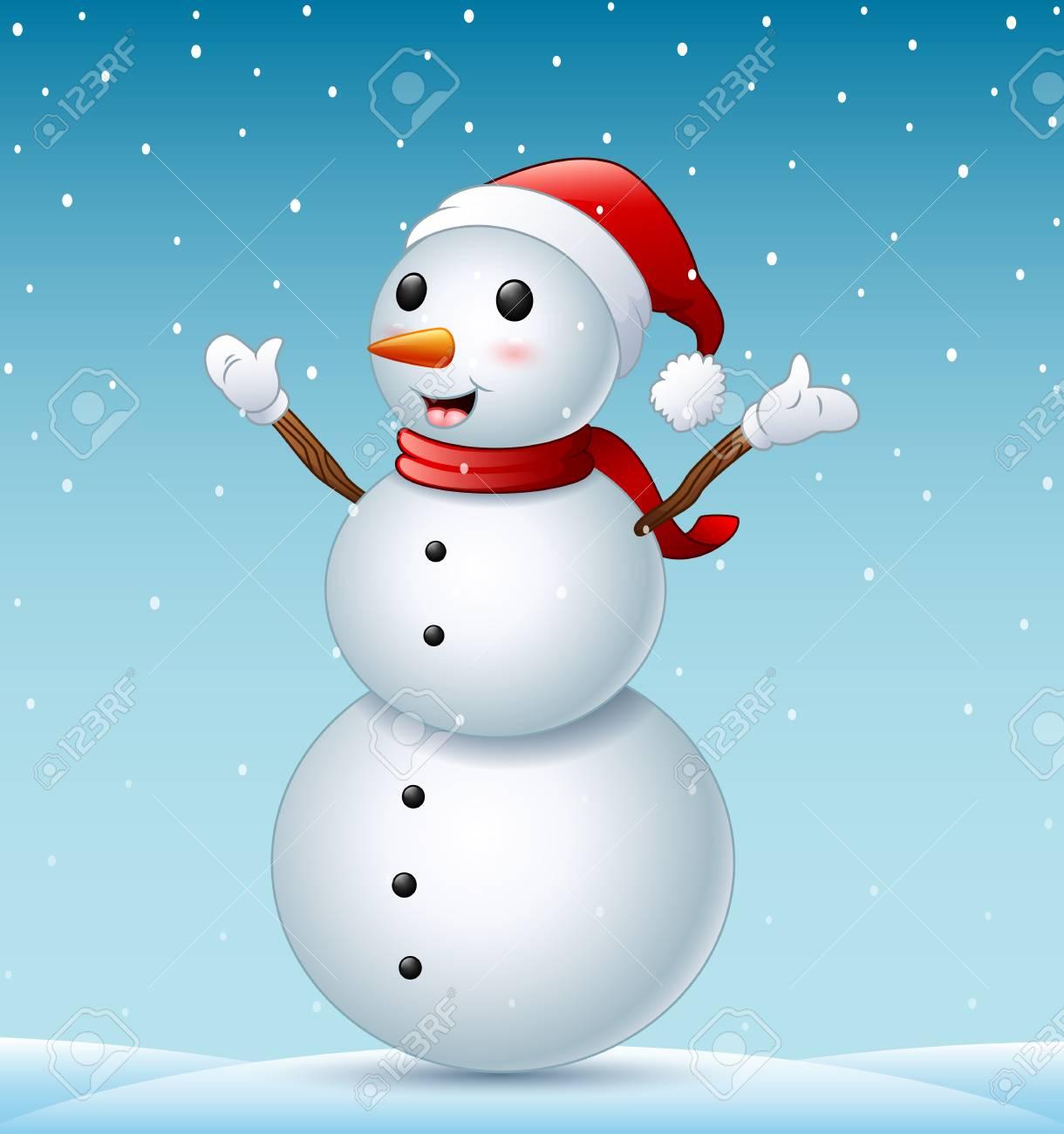 Glücklicher Weihnachtsschneemann Und -schneefälle Lizenzfrei ...