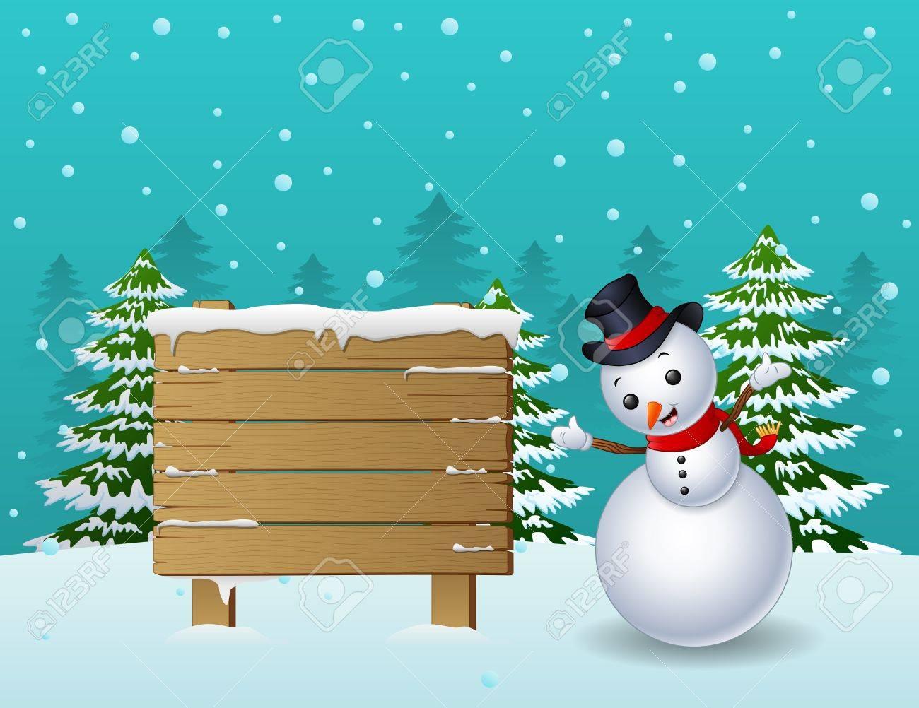 Noël Cartoon Bonhomme De Neige Avec Panneau En Bois Et Des Arbres De