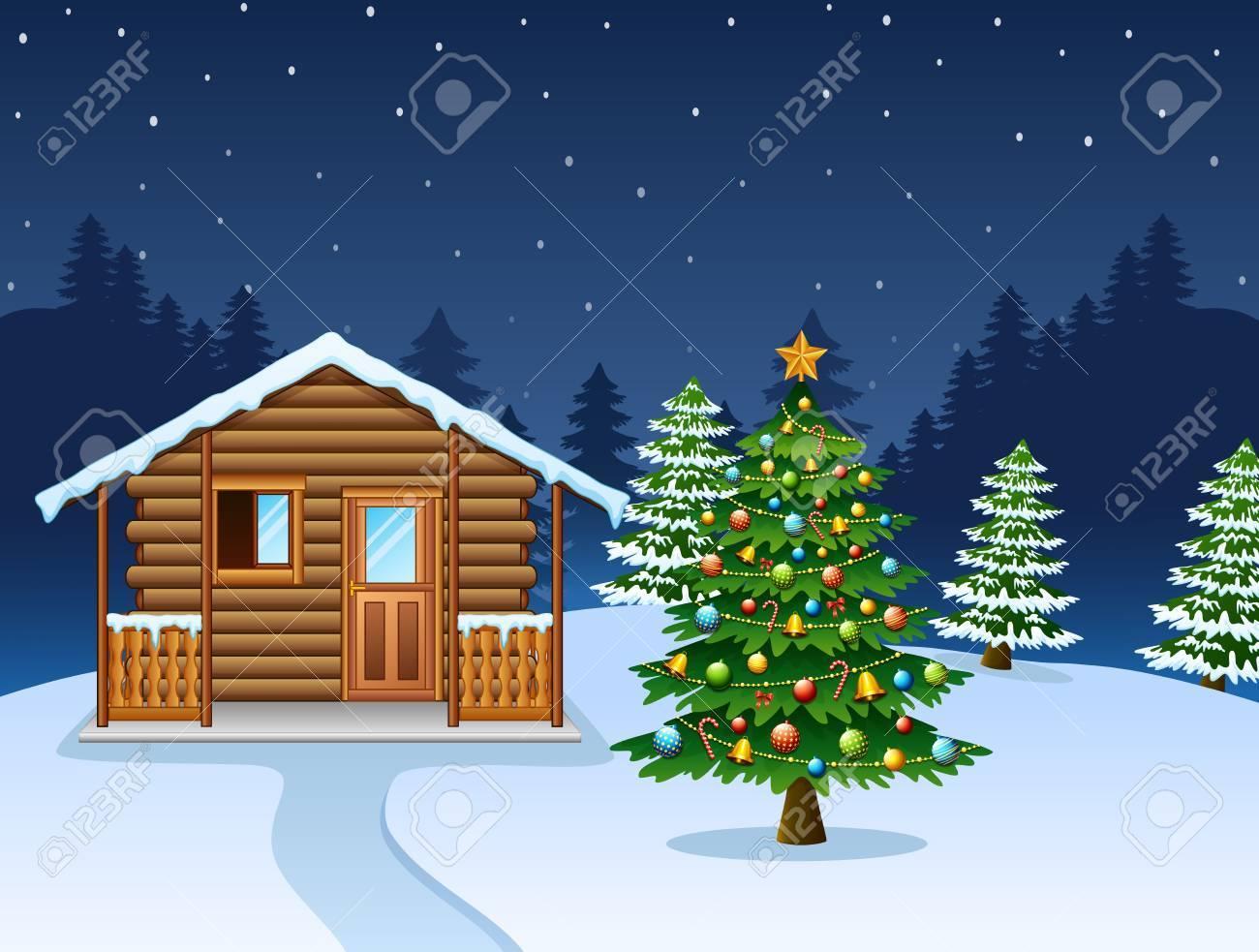 Weihnachten Nacht Szene Mit Einer Verschneiten Holzhaus Und ...