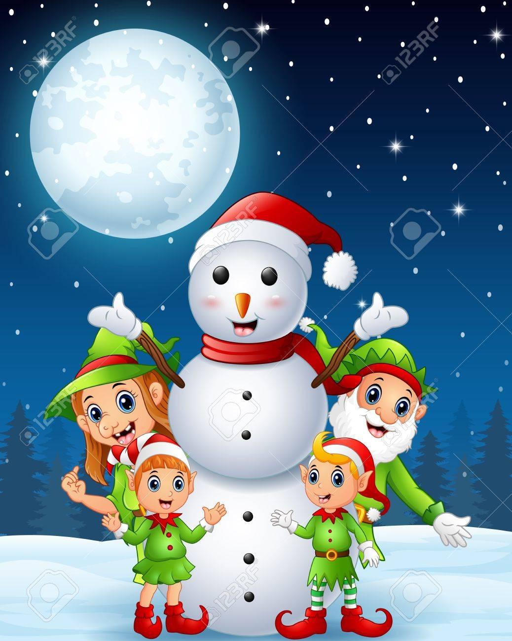 Dessin Animé Noël Elfes Avec Bonhomme De Neige Dans Le Fond De Nuit