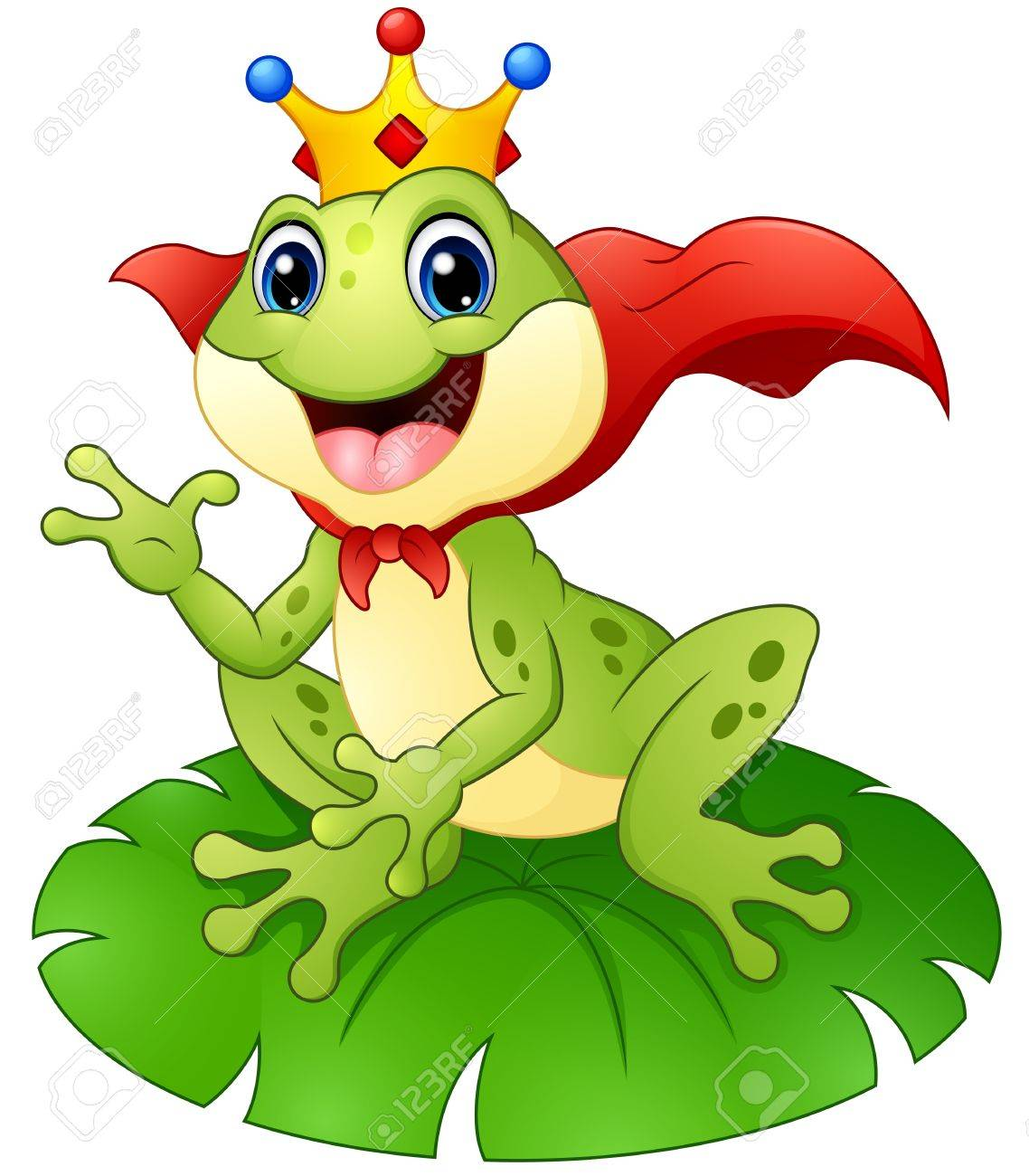 frog prince cartoon on water lily leaf royalty free cliparts rh 123rf com Leaping Frog Clip Art Tree Frog Vector