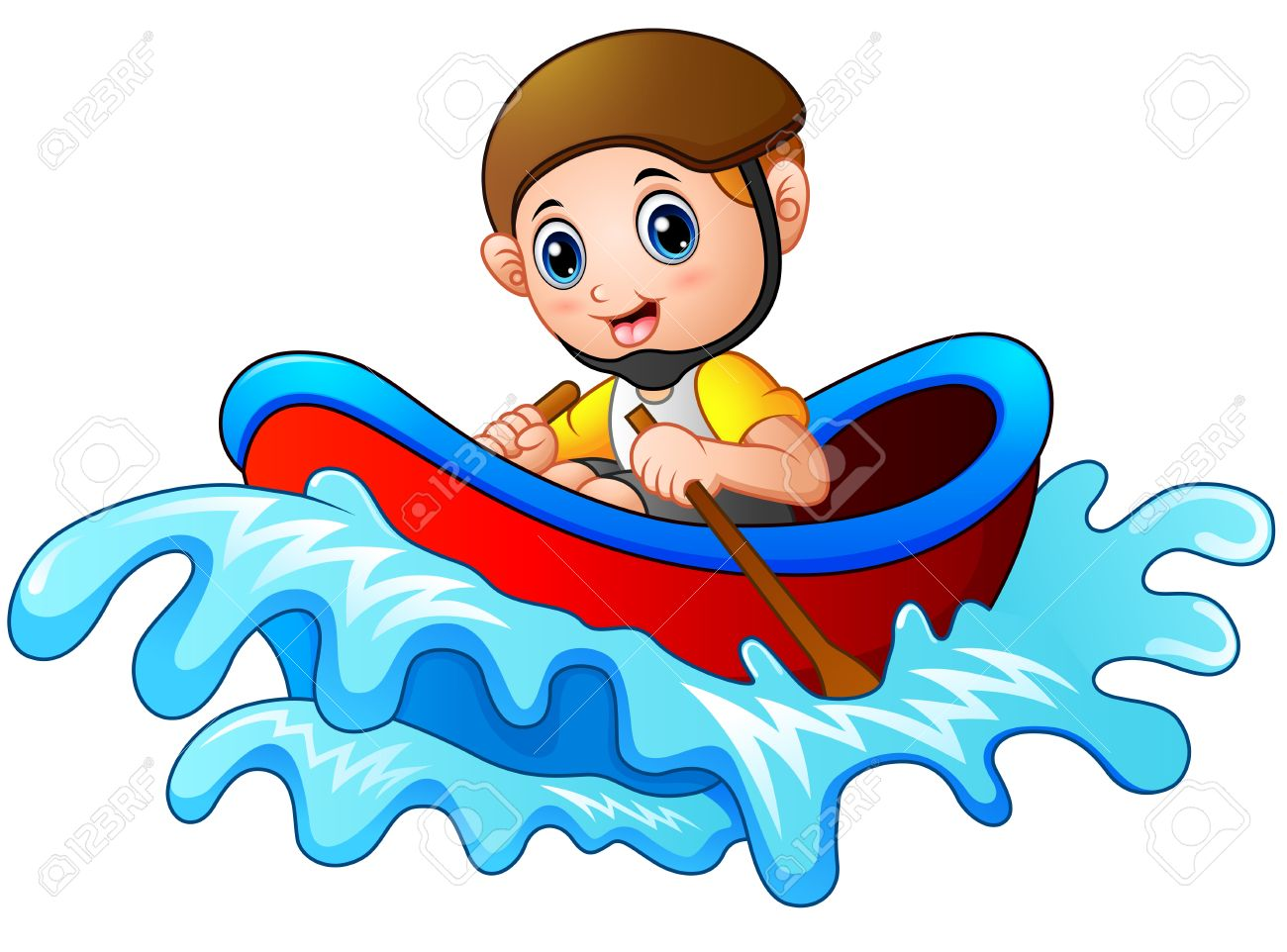 cartoon little boy rowing a boat on a white background royalty free