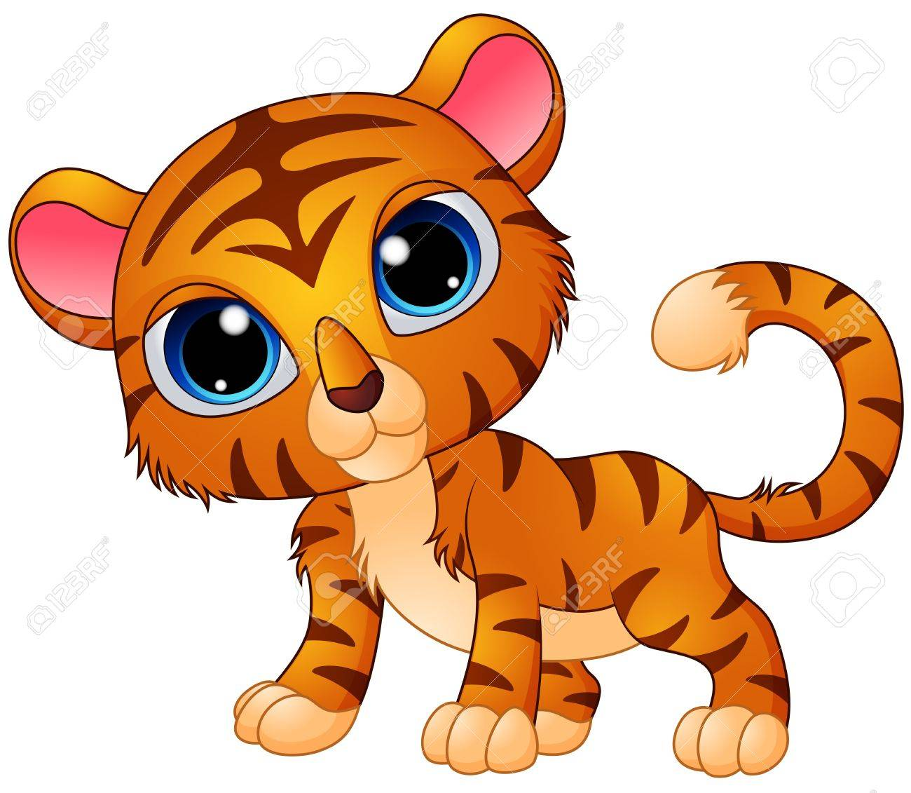 Cute Baby Tiger Cartoon Stock Vector