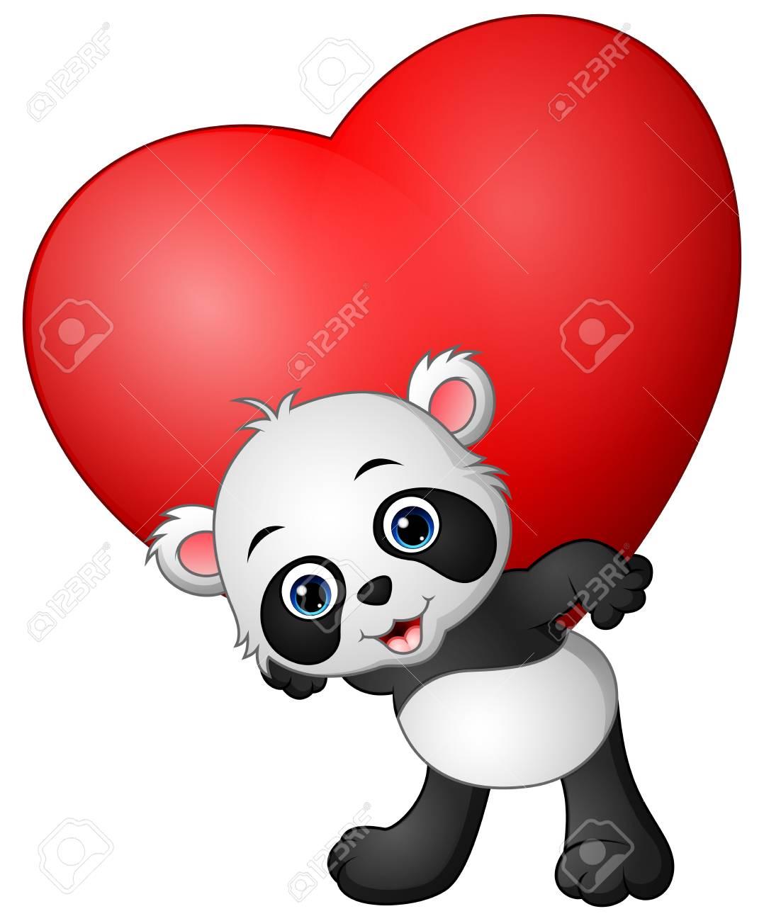 Panda De Dessin Anime Tenir Le Coeur Rouge Clip Art Libres De Droits