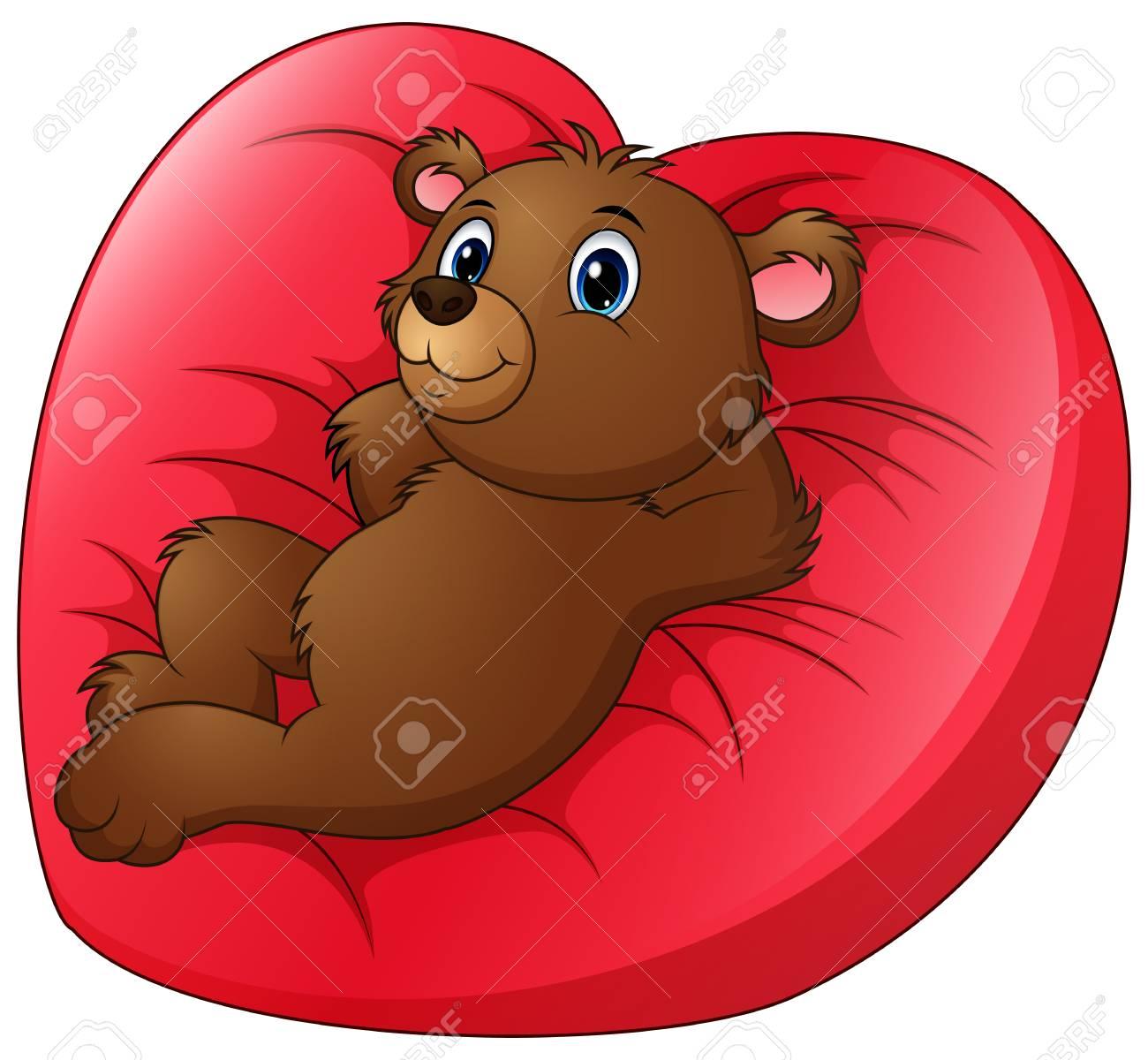 Cartoon Bear Relax On Heart Shaped Bed Stock Vector   70935425