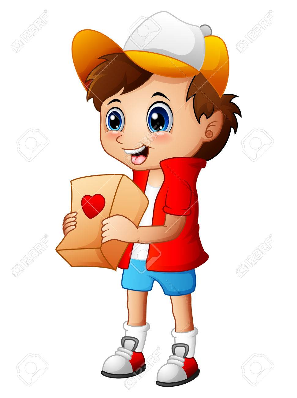 Cartoon boy giving gift packages stock photo picture and royalty cartoon boy giving gift packages stock photo 71566534 negle Images