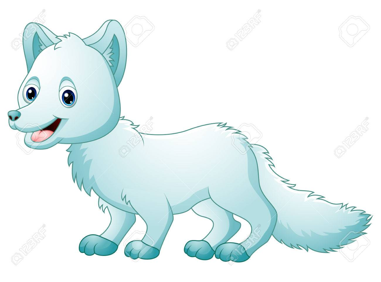Illustration of Cute cartoon arctic fox walking - 72549451