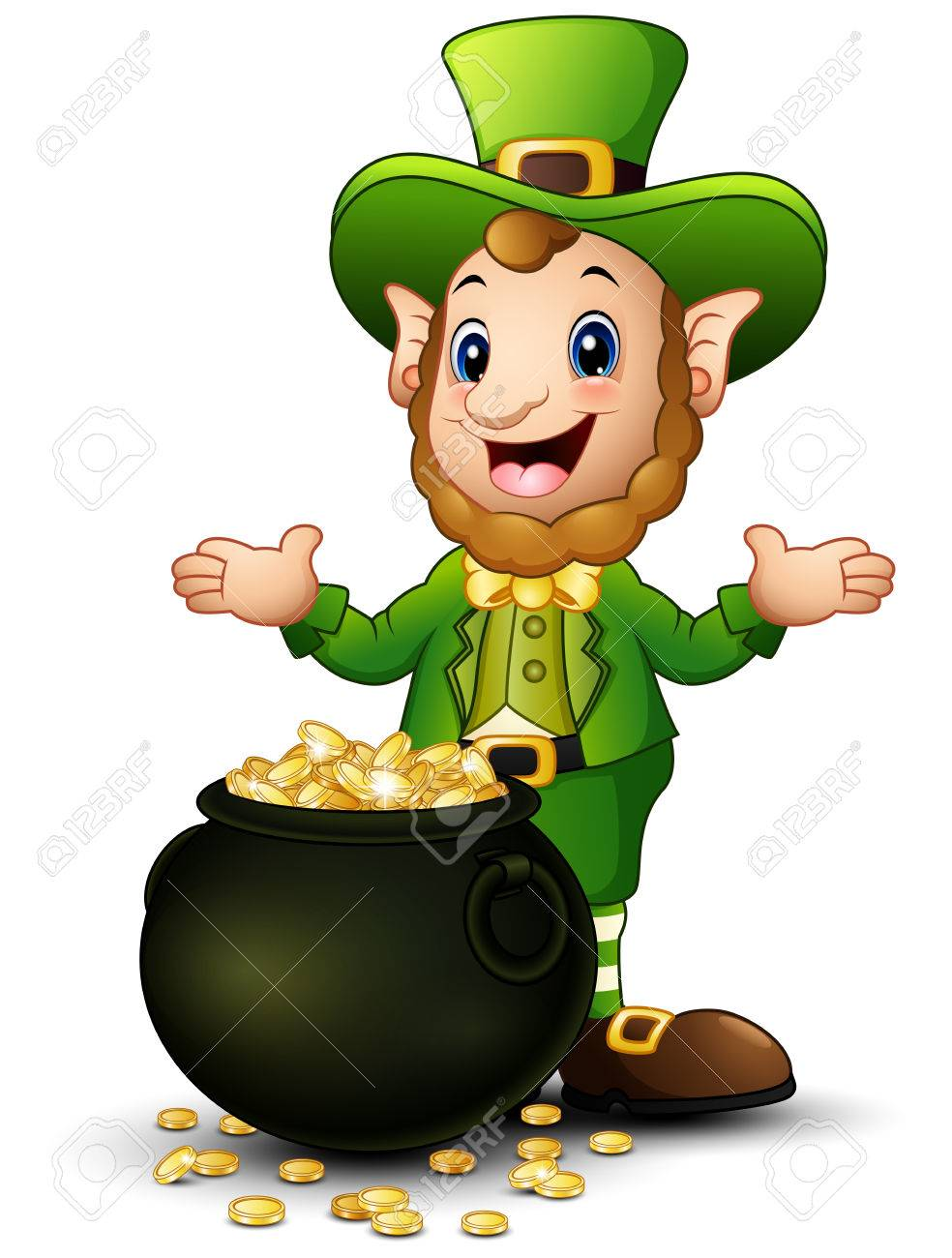 cartoon leprechaun with a pot of gold coins stock photo picture and